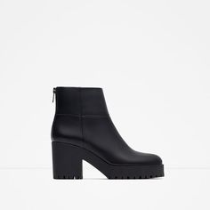 ZARA - WOMAN - HIGH HEEL LEATHER ANKLE BOOT WITH TRACK SOLE