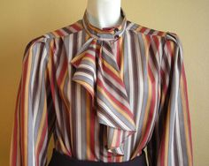 Striped secretary blouse with ascot - LOVE!