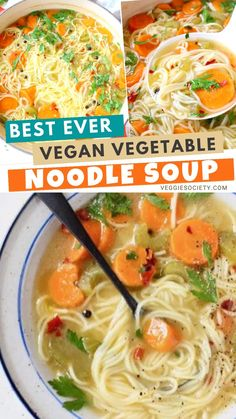 Homemade vegan vegetable noodle soup from scratch featuring classic angel hair long noodles, carrot, celery and tons of fresh Italian parsley.