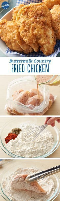 Country Fried Chicken Buttermilk Country Fried Chicken Recipe - The secret to this juicy and tender fried chicken lies in the simple buttermilk marinade. The crisp crust has a delicious hint of thyme.Buttermilk Country Fried Chicken Recipe - The secret to Buttermilk Fried Chicken, Crispy Fried Chicken, Fried Chicken Recipes, Breaded Chicken, Boneless Chicken, Roasted Chicken, Fried Steak, Chicken Meals, Buttermilk Recipes