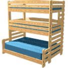 Triple Bunk Bed with Full Size Bunk on Bottom