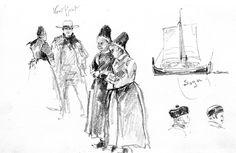 Frauen in Norwegischen Trachten, Zeichnung von Fritz Stoltenberg