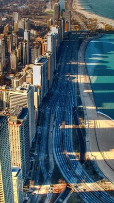 Lake Shore Drive shadows (Chicago Pin of the Day, 12/11/2014).