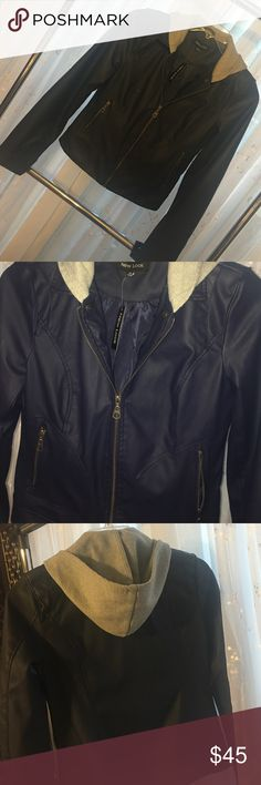 Navy blue leather coat. Dark navy blue coat with gray cotton hood. Never been worn, tags still attached. It was a gift that does not fit me. It's a size M. New Look Jackets & Coats