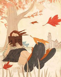 beautiful fall illustration of woman reading Reading Art, Woman Reading, I Love Reading, Reading Books, I Love Books, Good Books, My Books, Illustrations, Illustration Art