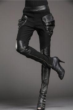 ✝☮✿★ GOTH GIRL FASHION ✝☯★☮ Women Punk Harem Elastic Skinny Pants Trousers Black Splicing Leather - Pants & Jeans | RebelsMarket