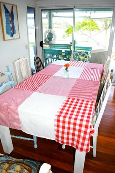 Make a dishtowel tablecloth. Cute for camping
