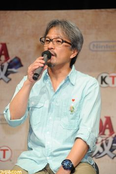 Eiji Aonuma during NicoNico's live stream for Zelda: Hyrule Warriors #WiiU on July, 31th 2014. Notice the #ALBW pin on his shirt!