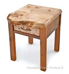 Barn Wood End Table or Nightstand with Live Edge Burl Wood Slab. Custom sizes available by Woodland Creek.