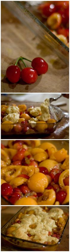 Cherry Loquat Cobbler:  I made this today after I learned we have 3 loquat trees in the backyard!