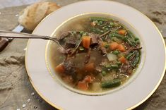 Warm and comforting homemade Beef Vegetable Soup. Use leftover prime rib bones to make the best soup. Vegetable Soup Ingredients, Homemade Vegetable Beef Soup, Vegan Vegetable Soup, Homemade Soup, Homemade Recipe, Basic Soup Recipe, Leftover Prime Rib, Beef Soup Recipes, Soups And Stews