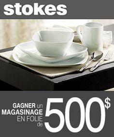 Gagnez 500 $ chez Stokes. Fin le 1 er avril. Re-pin pour gagner!  http://rienquedugratuit.ca/concours/gagnez-500-chez-stokes/