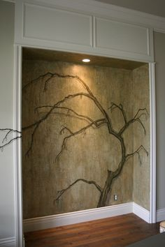 Tree Mural over crackled and glazed plaster by Chell Design by ksrose