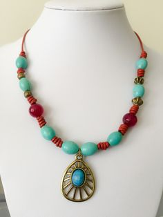Boho red leather with turquoise necklace