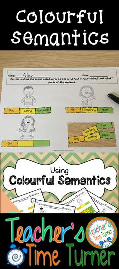 Using colorful (colourful) semantics is a useful set of activities for your children to work on using a subject, verb and object sentence structure.