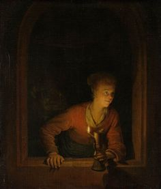 "windypoplarsroom: "" Gerrit Dou ""Girl with Burning Oil Lamp"" """