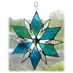 Triangle Star Suncatcher Stained Glass Turquoise Dichroic