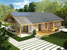Projekt domu AC Eryk (z wiatą) CE - DOM - gotowy koszt budowy Simple House Design, Modern House Design, House Plans Mansion, Modern Barn House, Bungalow Renovation, Bungalow Homes, Weekend House, My Ideal Home, Shed Homes