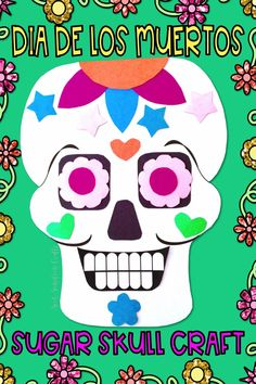 The Day of tThis Day of the Dead sugar skull paper craft activity that can also be used as a glyph is a great alternative to a Halloween craft! Perfect if your students are studying Dias de los Muertos or holidays around the world for social studies and makes an amazing eye catching bulletin board. Use along with the glyph key or as a stand alone craft. Suitable for upper elementary although many buyers have used with younger students when paired with an older buddy!  he Dead Mexican Halloween, Spooky Halloween, Halloween Crafts, Holiday Crafts, Holiday Fun, Holiday Ideas, Sugar Skull Crafts, Joyous Celebration, All Souls Day