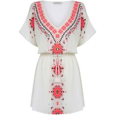 OASIS Embroidered Kaftan ($64) ❤ liked on Polyvore featuring tops, tunics, dresses, natural, white embroidered top, holiday tops, white caftan, white top and white kaftan tunic