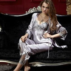 0e7053f6b224c Silk Satin Pajamas Embroidery Three-Piece Pajama Set
