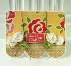 shaped card, handmade flowers, stiching,buttons, twine