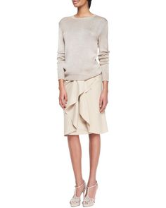 -53TP Ralph Lauren Collection Silk-Cashmere Ballet Sweater and Madelaine Ruffle-Front Skirt