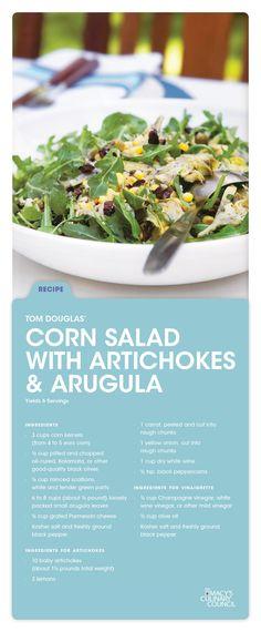 Think fresh, seasonal & healthy with Macy's Culinary Council Tom Douglas' Corn Salad with Artichokes & Arugula.