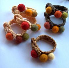 Textile Crochet felted bracelet bangle Golden brown by astash