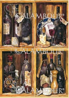 CAL 283 - Calambour Paper for classic Decoupage. Pattern : wines, cheeses, sugar bowls, biscuits, glass of red wine. Details: measures 50 x 70 cm, printing on 80 gr/mq paper sheet