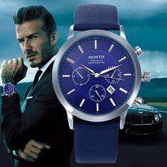2017 Mens Watches NORTH Brand Luxury Casual Military Quartz Sports Wristwatch Leather Strap Male Clock watch relogio masculino