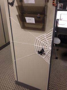 Spider web cubicle decor lol!!