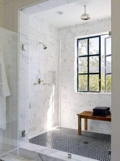 Top 70 Best Shower Window Ideas - Bathroom Natural Light Modern Farmhouse Bathroom, Farmhouse Design, Farmhouse Decor, Urban Farmhouse, Farmhouse Ideas, Farmhouse Trim, Craftsman Bathroom, Kitchen Modern, Farmhouse Style