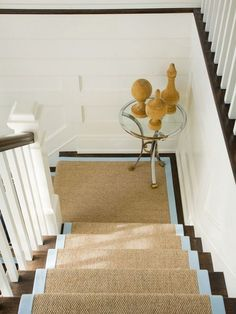 sisal stair runner with sea blue trim via amanda nisbet an elegant alternative to the old shaggy carpeting