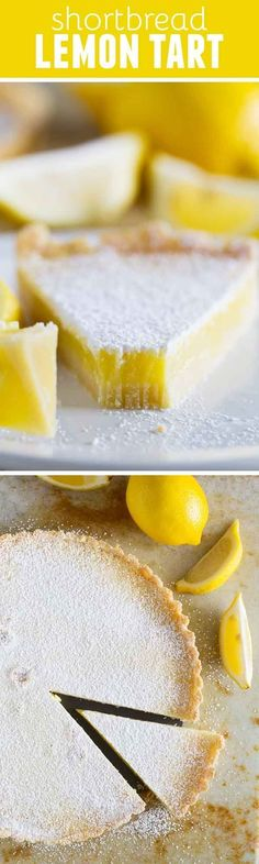 Tart Perfectly sweet and perfectly tart, this Shortbread Lemon Tart Recipe tastes like the best lemon bars in pie form.Perfectly sweet and perfectly tart, this Shortbread Lemon Tart Recipe tastes like the best lemon bars in pie form. Lemon Desserts, Lemon Recipes, Tart Recipes, Just Desserts, Sweet Recipes, Baking Recipes, Delicious Desserts, Dessert Recipes, Yummy Food