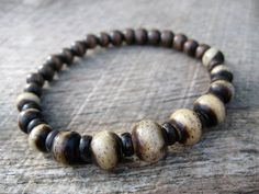 Mens tribal bracelet, bone, coconut and wood beads, earthy beaded stretch bracelet, mens jewelry, handmade, natural materials