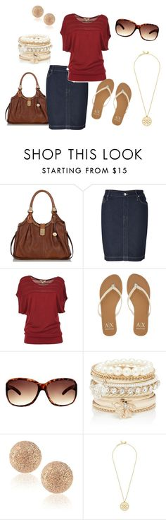 """Gold and red"" by style1437 ❤ liked on Polyvore featuring Brahmin, True Religion, Armani Exchange, Lipsy, Forever New, Carolina Bucci and Tory Burch"