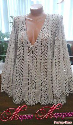 Lace Crochet Bolero pattern by Doris Chan Gilet Crochet, Crochet Cardigan Pattern, Crochet Jacket, Crochet Blouse, Crochet Poncho, Crochet Stitches, Crochet Patterns, Bolero Pattern, Crochet Bebe