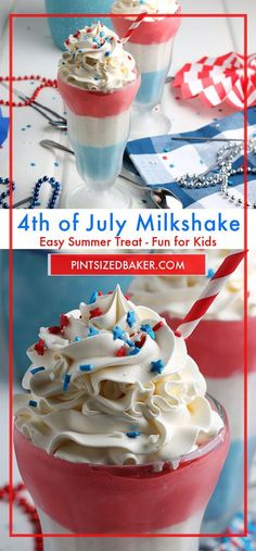 Make the kids (and you) these fun red, white, and blue milkshakes for Memorial Day and the 4th of July! They are easy to make and so fun to serve up! Milkshakes are a summer favorite! #milkshake #4thOfJuly #RedWhiteBlue Summer Treats, Summer Desserts, Fun Desserts, Summer Recipes, Holiday Recipes, Delicious Desserts, Summer Food, Fourth Of July Food, July 4th