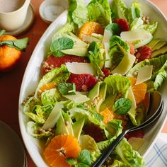A recipe for Mixed Citrus, Gem Lettuce and Couscous Salad with a a Blood Orange, Poppy Seed and Champagne Vinaigrette.