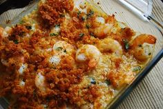 Garlic Baked Shrimp....topped with Parmesan cheese, butter and cornflakes