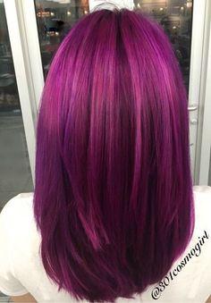 Hair color by beautiful multidimensional magenta and purple hair . Hair color by Violet Hair Colors, Hair Color Purple, Hair Color And Cut, Hair Colours, Long Purple Hair, Red Violet Hair, Light Purple, Coloured Hair, Bright Hair