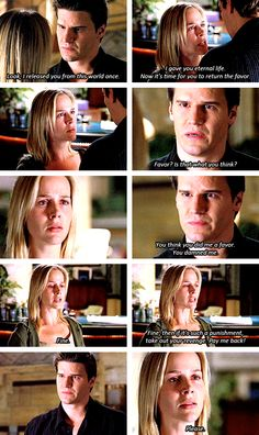 Angel + Darla I Love how he said she damned him, but he still forgave her