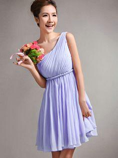 A-Line One Shoulder Draped Short Lavender Bridesmaid Dresses