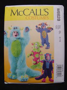 NEW McCall's M6628 Kid Child Monster Costume Pattern Sz 6 7 8 McCalls 4 Styles