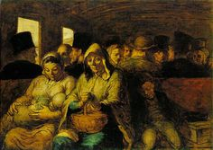 Honoré Daumier - Third-Class Carriage - good example of Realism characterized by sincerity and honesty - head-on point of view - colors are descriptive rather than expressive