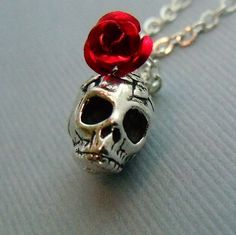 Silver Skull Necklace, Red Rose Skull Charm Necklace, Black Rose, Skull Jewelry on Etsy, $24.00