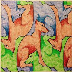 #Escher #Tessellation #Tiling #MC_Escher #Geometry #Symmetry My interpretation of Mc Escher symmetry nr 16