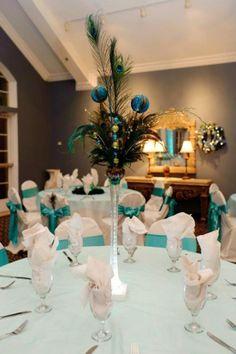 peacock centerpices | Wedding Ideas / Peacock Christmas Centerpiece : wedding blue christmas ...
