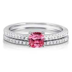 Berricle 925 Silver Cushion Pink Cz Solitaire Engagement Ring Set 0.795 Carat